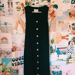 Black David Dart button up dress